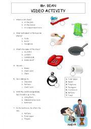 English Worksheet: Mr Bean goes shopping