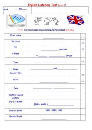 English Worksheet: listening test 1: introduce yourself A2 level