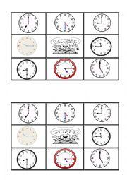 English Worksheet: telling the time  bingo 1
