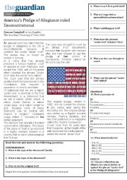 english worksheets america s pledge of allegiance ruled unconstitutional. Black Bedroom Furniture Sets. Home Design Ideas