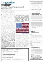 English Worksheet: America�s Pledge of Allegiance ruled Unconstitutional