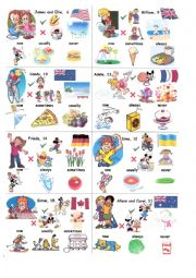 English worksheet: Talking about people (age, name, clothes, country, nationality, food, hobbies, seasons)