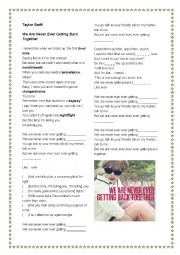 English Worksheet: Taylor Swift - We Are Never Getting Back Together