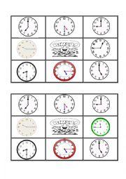 English Worksheet: telling the time  bingo 2