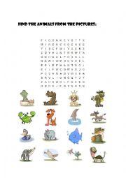 English Worksheet: wordsearch animals