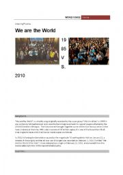 English Worksheet: We are the world 1985 Vs. 2010