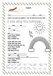 English Worksheet: I can sing a rainbow