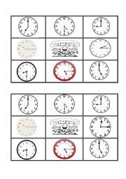 English Worksheet: Telling the time bingo 3