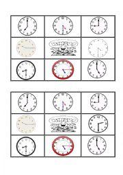 English Worksheet: telling the time  bingo 4