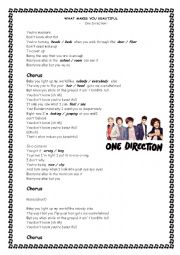 English Worksheet: SONG: What makes you beautiful by One Direction