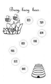 English Worksheet: BUSY BUSY BEES