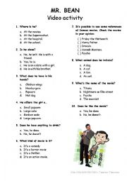 English Worksheet: Mr. Bean goes to the movies
