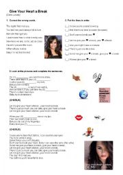 English Worksheet: Give your heart a break