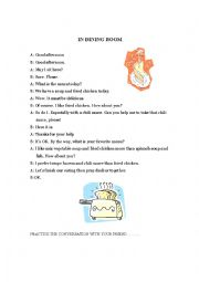 English Worksheet: reading -in dining room-