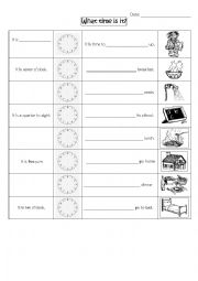 English Worksheet: Time and daily actions