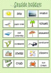 English Worksheet: Seaside Holydays DOMINO