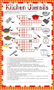 English Worksheet: Kitchen Utensils - Crosswords