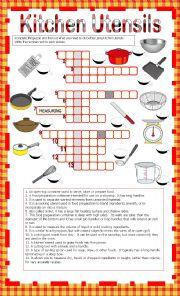 english worksheets kitchen utensils crosswords. Black Bedroom Furniture Sets. Home Design Ideas
