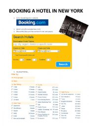 English Worksheet: Booking a hotel in New York - comparing