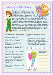 English Worksheet: jerry�s birthday