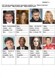 English Worksheet: Famous Faces