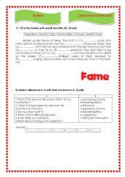English Worksheet: talking about fame