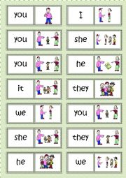 English Worksheet: Subject pronouns DOMINO
