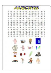 Adjectives wordsearch