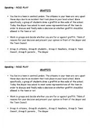 English Worksheet: Role Play: Graffiti