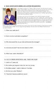 English Worksheet: Reading about Justin Bieber