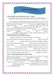English Worksheet: a set of language tasks dealing with sharing roles within the family and generation gap