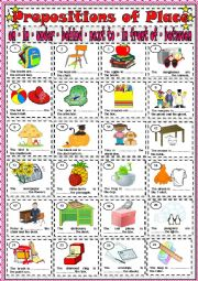English Worksheet: PREPOSITIONS OF PLACE - ON / IN / UNDER / BEHIND / NEXT TO / IN FRONT OF / BETWEEN