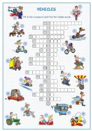 Vehicles Crossword Puzzle