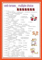 english worksheets verb tenses multiple choice with key. Black Bedroom Furniture Sets. Home Design Ideas
