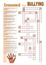 English Worksheet: Crossword on Bullying