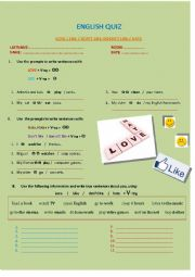 English Worksheet: English Quiz - Love / Like / not Like / Hate + V-ing
