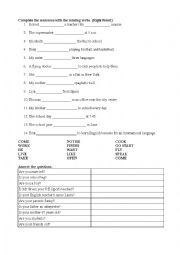 English Worksheet: present tesnse 3rd person singular + yes-no questions