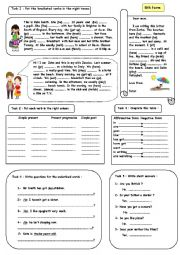 a worksheet to review tenses for elementary students