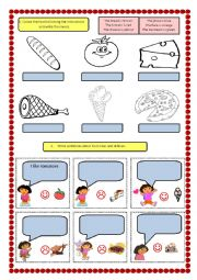 English Worksheet: Colour the food and likes/dislikes