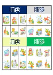 English Worksheet: PLACES BINGO CARD 1