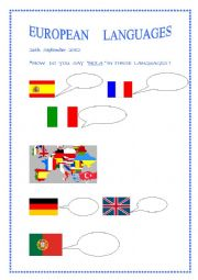 English Worksheet: EUROPEAN LANGUAGES