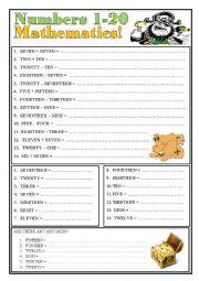English Worksheet: Numbers 1-20. Mathematics.