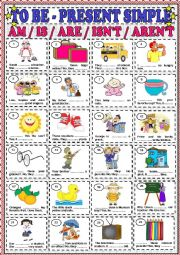 English Worksheet: TO BE - AM / IS / ARE / ISN�T / AREN�T
