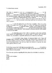 English Worksheet: recommendation letter