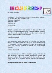 English Worksheet: Motivation story The color of  friendship