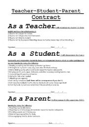 English worksheets teacher student parent contract for Student teacher contract template