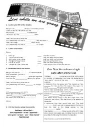 English Worksheet: Live While We Are Young by One Direction