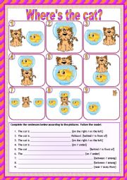 English Worksheet: Where´s the cat? (2 pages with answers) *editable