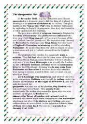 English Worksheet: The Gunpowder Plot (5th November)