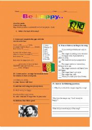English Worksheet: Don´t worry be happy, Listening comprehension